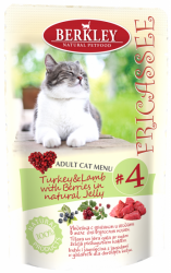 Консервы для кошек Berkley Fricassee #4 Turkey & Lamb Adult Cat индейка с ягненком и ягодами в желе 0,1 кг